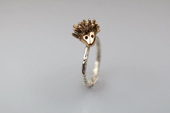 Porcupine ring Silver and Bronze Hedgehog ring whimsical