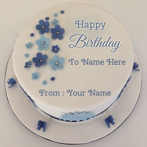 Birthday Cake Images To Write Name : Birthday Wishes Flower Decorated Cake With Name.Name ...