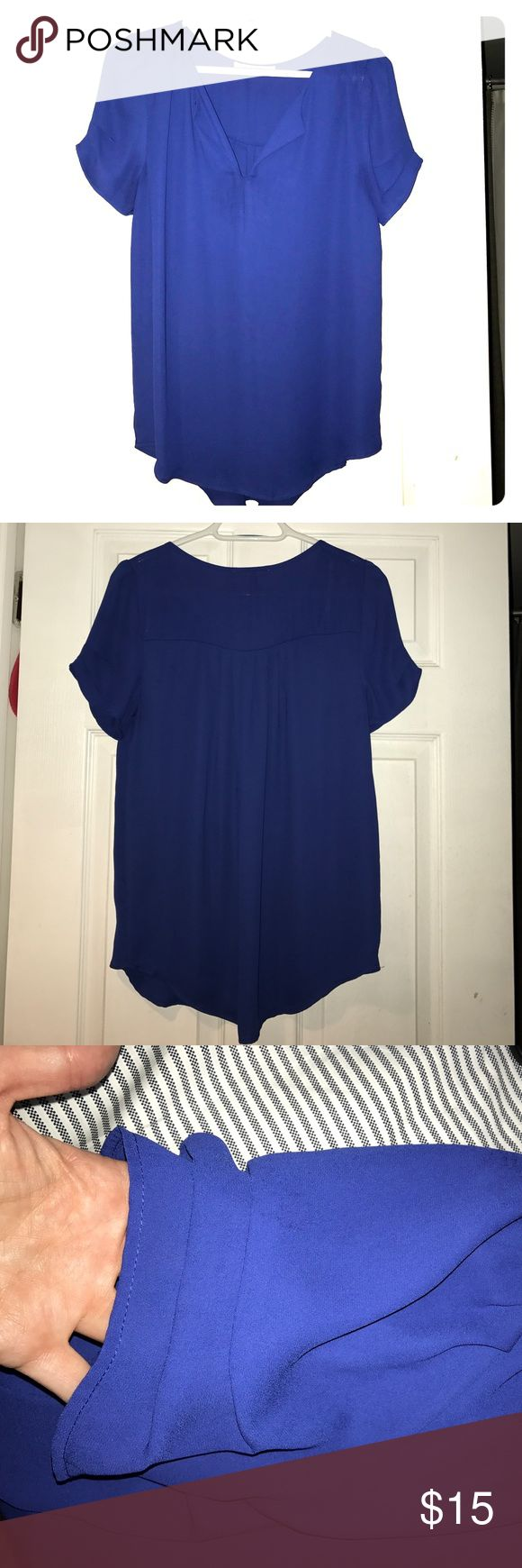 Royal blue blouse with beautiful sleeve detail S This blouse is super lightweight and beautiful on. Perfect with slacks or jeans. Daniel Rainn Tops Blouses