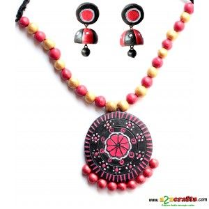 Terracotta Jewellery Black with jhumka - Terracotta Jewelry - Rs 385 - Hand Made Crafts - Buy & Sell Indian Handmade Crafts and Handmade Jewelry and Gifts