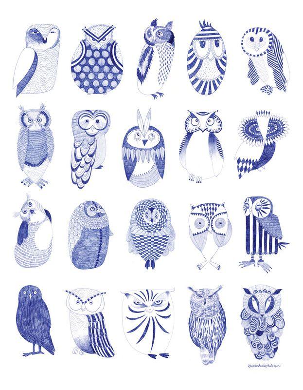 karin lindeskov - owl street..: Owl Sketch, Owl Illustration, Owlstreet Art, Art Prints, Blue Owl, Karinlindeskov