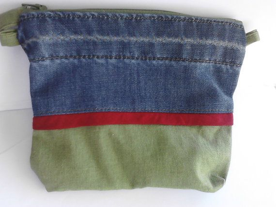 denim and green linen fabric zipper purse lined by creatingbyVilly