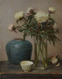 Green Ginger Jar with White Peonies by Grace Mehan DeVito