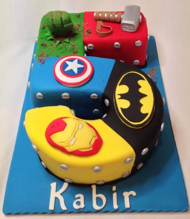 Superhero number cake