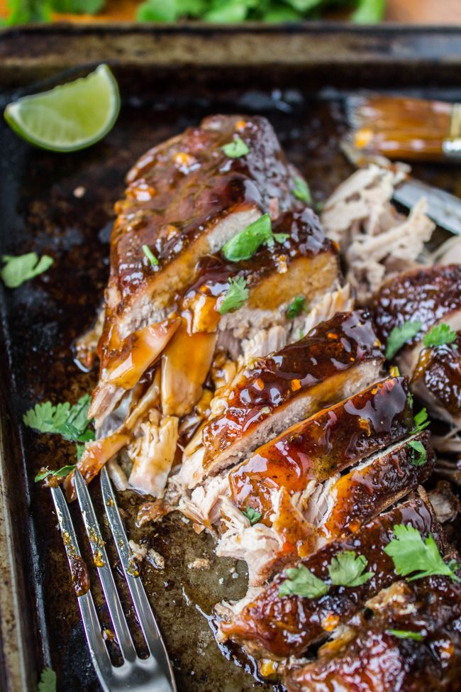 An easy and healthy slow cooker pork tenderloin recipe with Asian vibes and a ginger glaze that gets caramelized under the broiler.