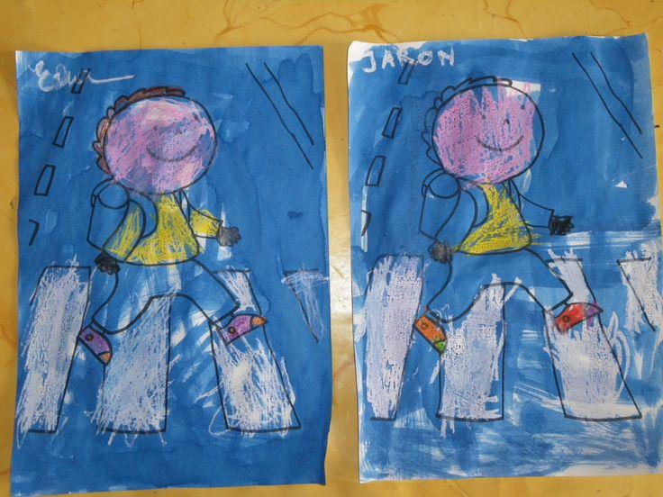 zichtbaar zijn in het donker: eerst hard kleuren met witte en gele waskrijtjes, daarna overschilderen met blauwe ecoline- pin gemaakt door Lieve L.