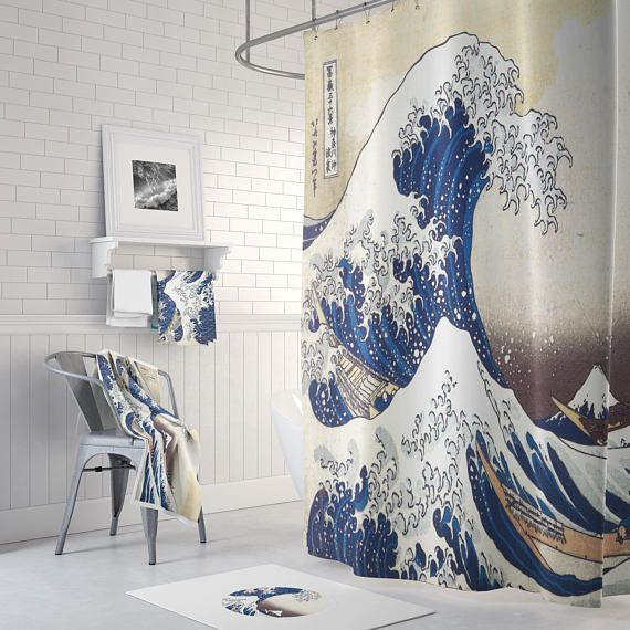 Shower Curtain Shower Curtain Vintage Great Wave of