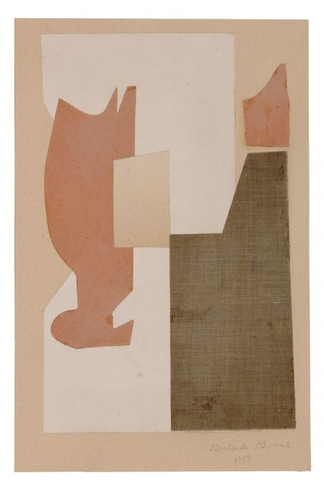 Gertrude Greene - Untitled, 1937 Collage on paper with cotton cloth