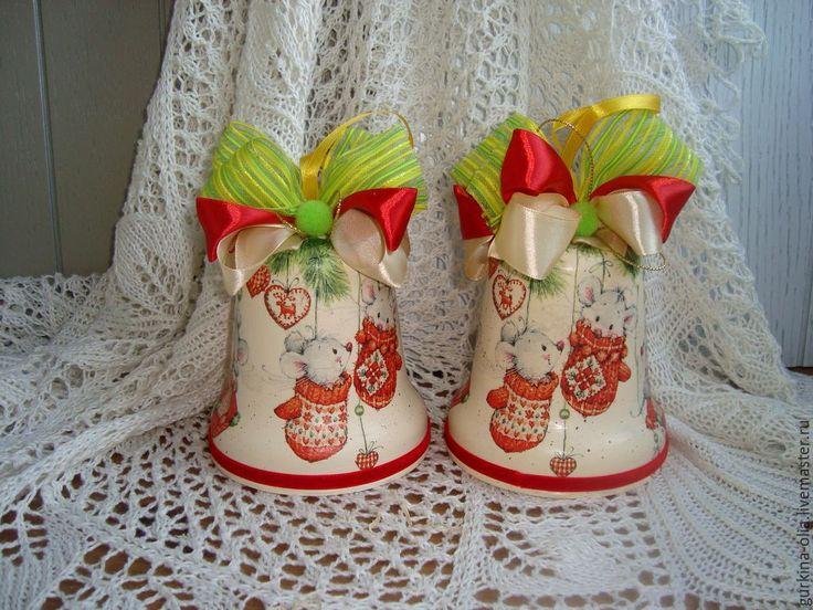Купить Колокольчик Мышки в варежках - колокольчик, колокольчик новогодний, колокольчик ручной работы, колокол