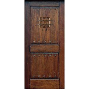 Main door rustic mahogany type 2 panel prefinished for Home depot front doors wood