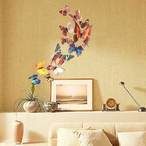 Best Wall Sticker Images On Pinterest Removable Wall - Butterfly wall decals 3dpvc d diy butterfly wall stickers home decor poster for kitchen