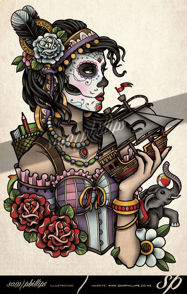 Day of the dead rib tattoo Rebecca by Sam-Phillips-NZ on DeviantArt