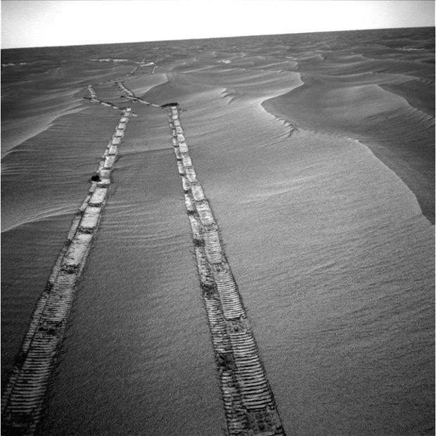 Opportunity looks backwards while on the move