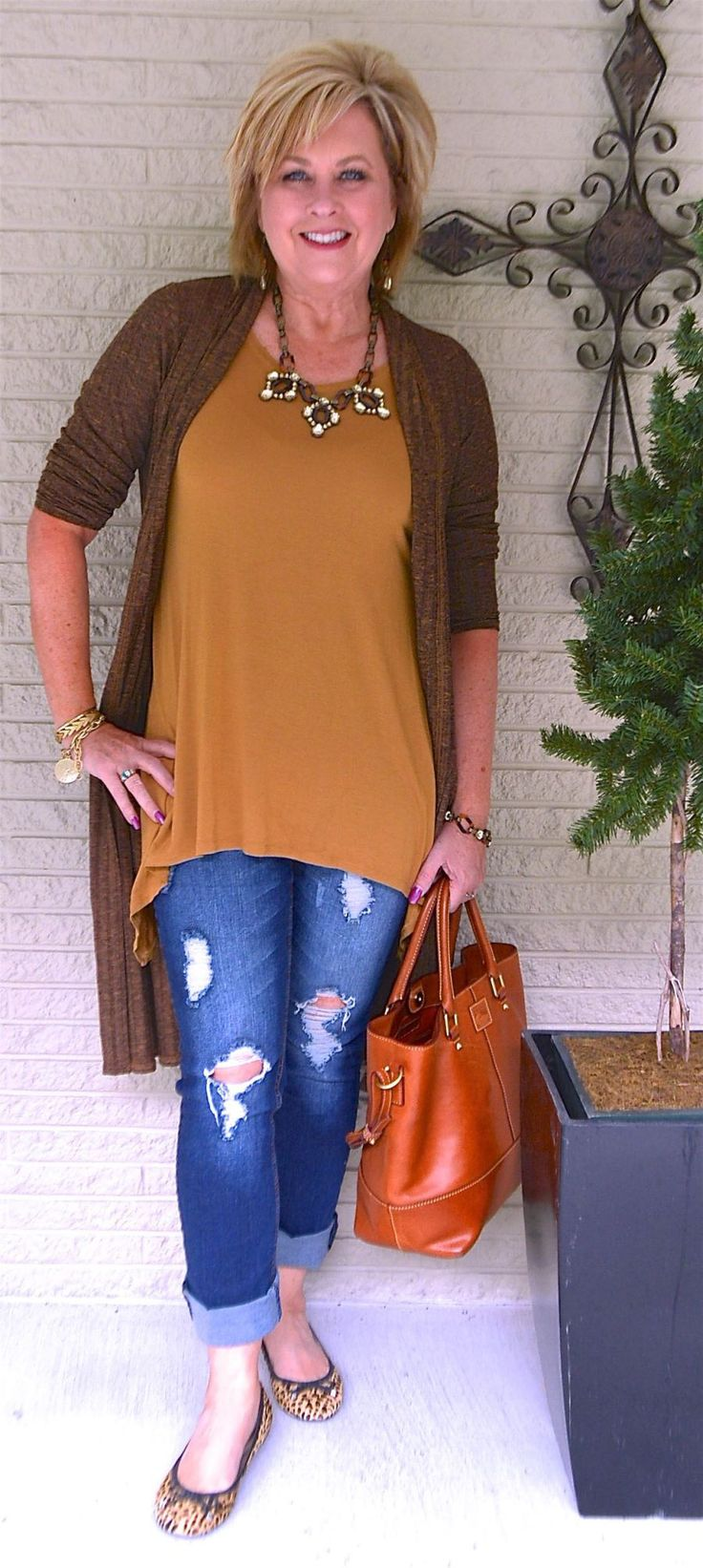50 IS NOT OLD   NORTH TO ALASKA   Duster Cardigan   Brown Outfit   Distressed Jeans   Fashion Over 40 For The Everyday Woman