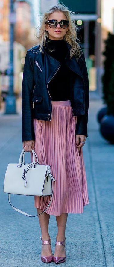what to wear with a pink midi skirt : black top + heels + bag + biker jacket