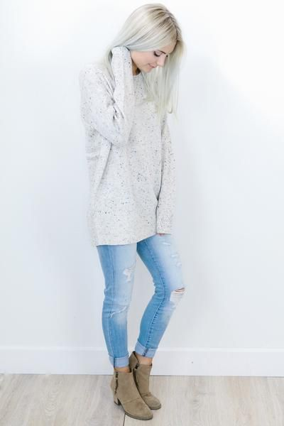 Cream Speckled Sweater - Shop AOF