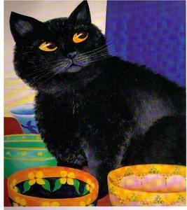 "BERYL COOK ~ ""MIRO WAITING for DINNER"" ~ MOUNTED PRINT~ BLACK CAT ..."