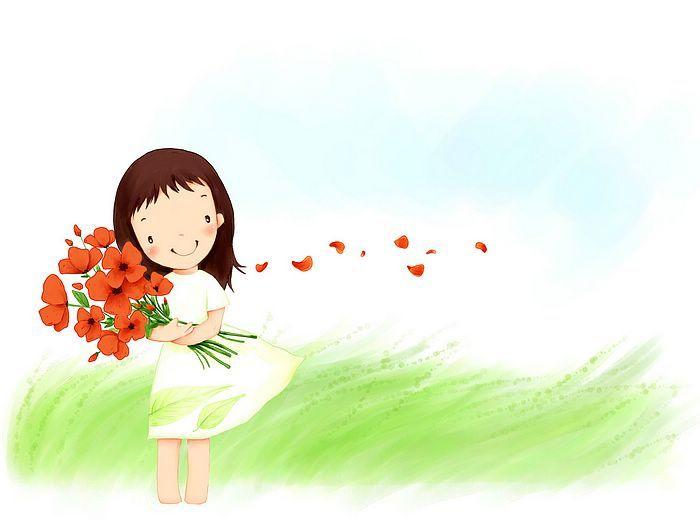 Kim Jong Bok Illustrations(Vol.05) : Sweet Childhood Lovely Girl    - Little Spring Angle - Sweet Girl Cartoon, Korean Art Illustration  3