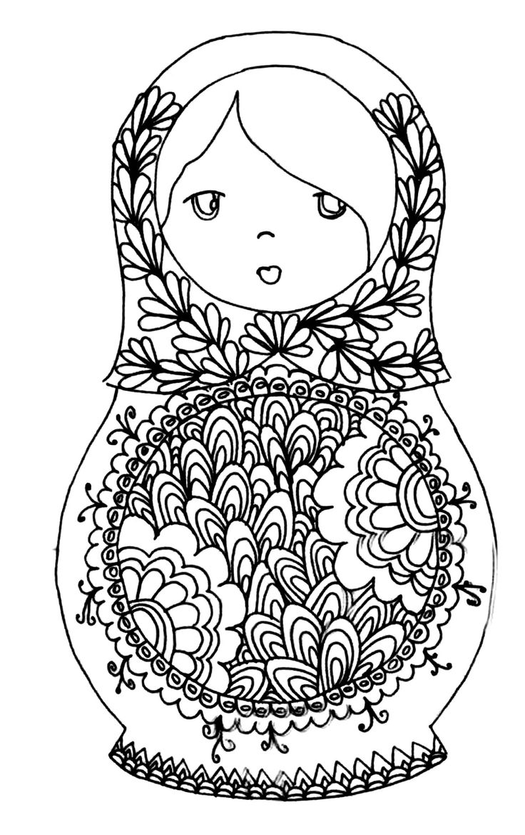 Free printable adult colouring page russian dolls source - Coloriage prin ...