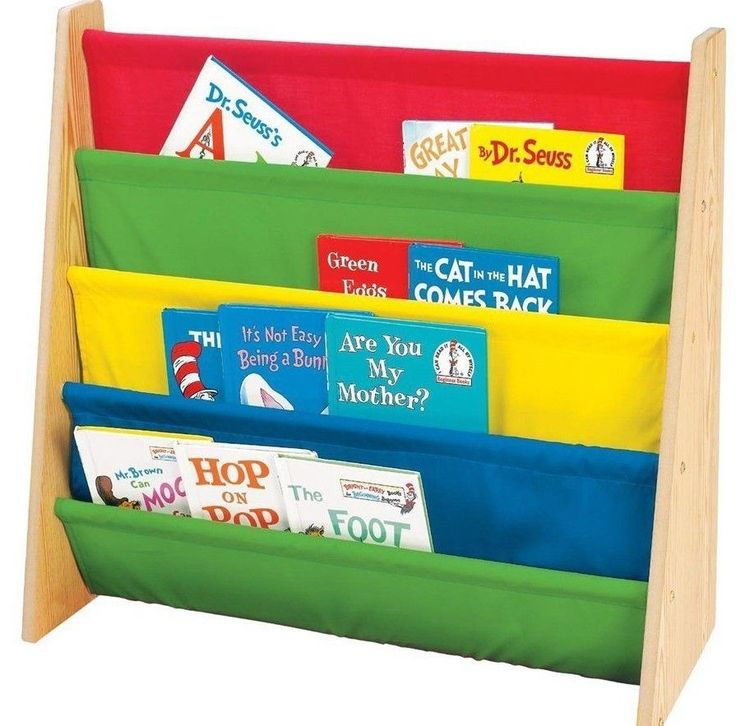 """Perfect for your little reader!  The sturdy wood bookrack with colorful nylon fabric pockets hold books cover forward for easy recognition by young children encouraging them to """"read"""" and return their books for a neat and organized room  25 x 11 x 24 inches ; 7 pounds Toddler-sized book rack from Tot Tutors; easy book access for children ages 3 and up Sturdy wood frame with 5 nylon fabric pockets; pockets in bright red, blue, green, and yellow Flexible for books of varying size and…"""