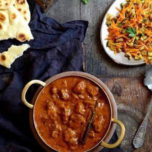 Lamb curry with mango atchar and masala cashew nut salad