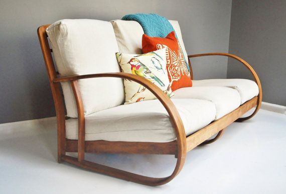 Mid-Century Bentwood Sofa by Lloyd Manufacturing door thewhitepepper via Etsy.  Serre