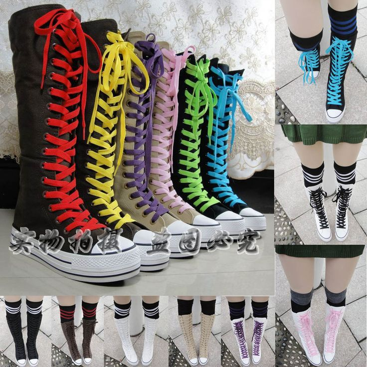 EMO PUNK Rock women's shoes paltform canvas shoes Sneaker casual shoes canvas boots Knee High Lace Up US $36.00