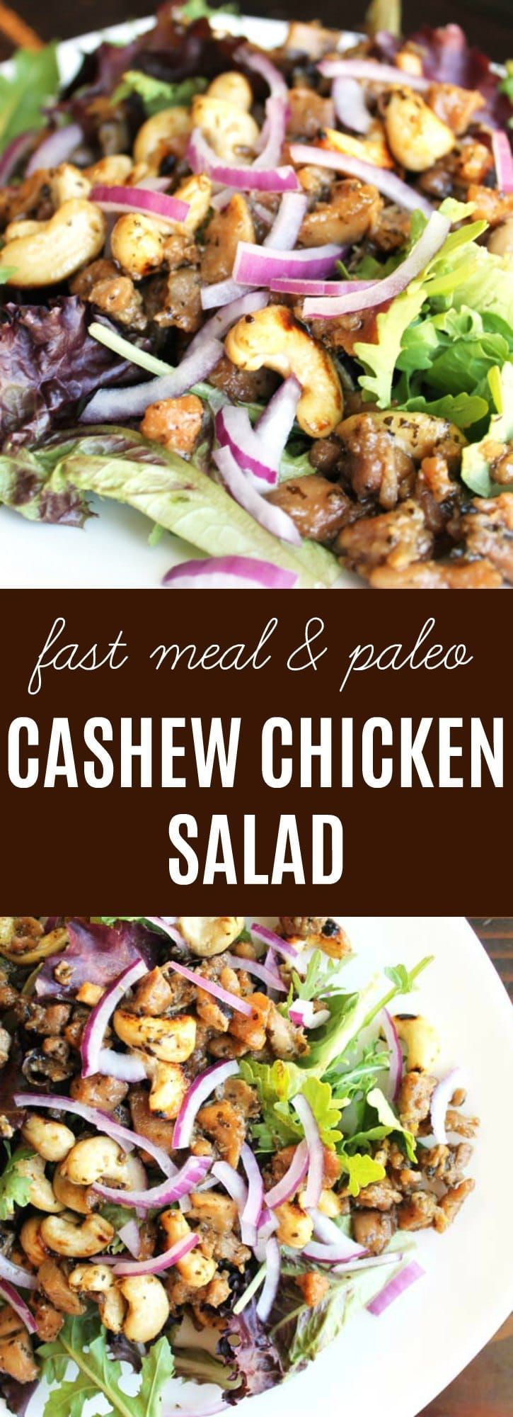 Cashew Chicken Salad: This is the most flavorful chicken I have ever made. It was an instant hit for the whole family, took less than 30 minutes to prepare, & tastes so great as leftovers that we don't even bother reheating it. Paleo. | thenourishedfamily