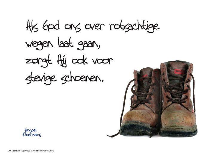 Rotsachtige weg hoeft geen probleem te zijn. God geeft je stevige schoenen :)