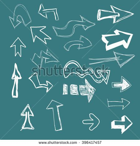 hand drawn, arrow, dashed arrows, vector highlighter elements - stock vector