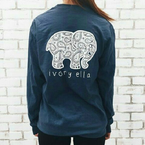 Ivory Ella -navy blue long sleeve New. Never worn. Navy blue ivory ella long sleeve with front pocket. Stunning look alike. All photos but the cover photo is of actual shirt. Tops Tees - Long Sleeve