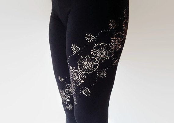 Yogapants / Henna design leggings by TheHennaGrove on Etsy