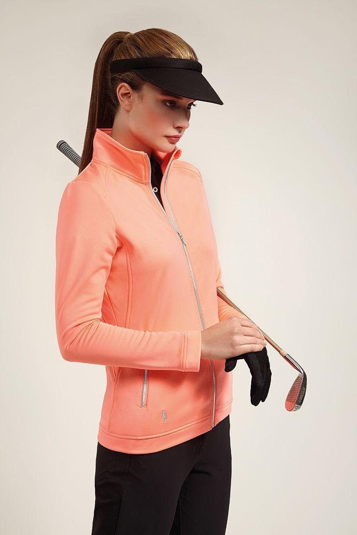 Ladies Performance Zip Front Long Sleeve Golf Mid Layer - Golfwear