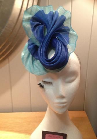 Turquoise and royal blue silk abaca twisted fascinator