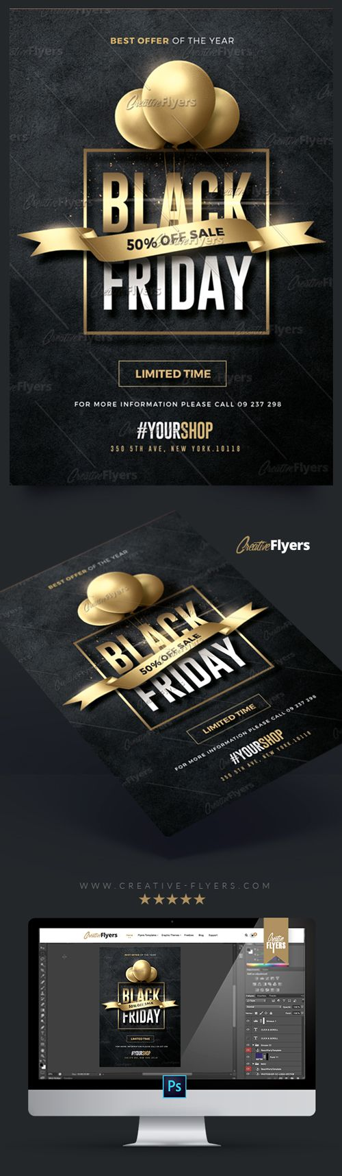 Creative Black Friday Flyer Enjoy downloading the Premium Photoshop PSD Flyer / poster Template designed by Creative Flyers perfect to promote your Black Friday ! #black #friday #blackfriday #flyers #templates #cards #graphics #creative #creativeflyers