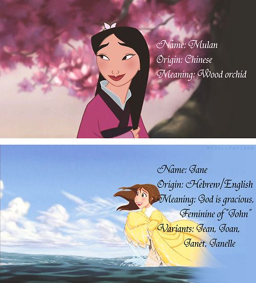 What their names mean: Mulan and Jane