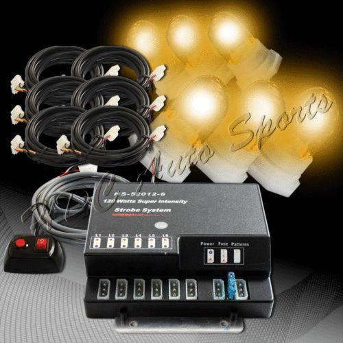 120W 6 HID Bulbs Amber Hide A Way Emergency Hazard Warning Strobe Lights Kit 5