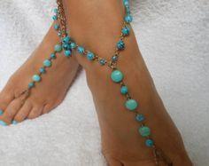 Uncinetto a piedi nudi sandali spiaggia Yoga scarpe piedi gioielli di nozze blu turchese