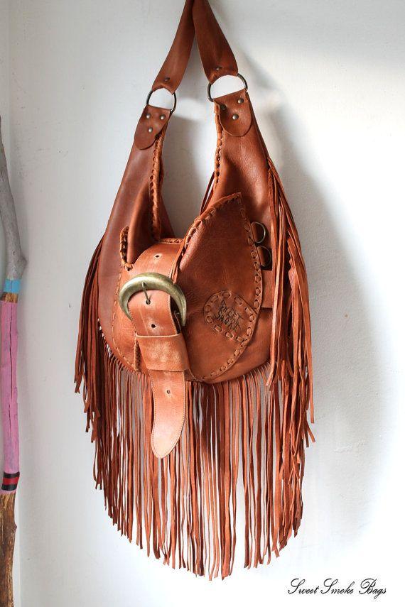 Rusted brown deep orange leather hobo oversized by SweetSmokebags