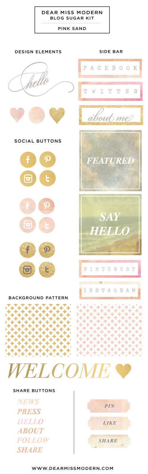 """Pink Sand design kit what I love: the hello script, the flat gold social media buttons, the rectangle sidebar boxes, the """"plaque"""" pin, like and share boxes"""