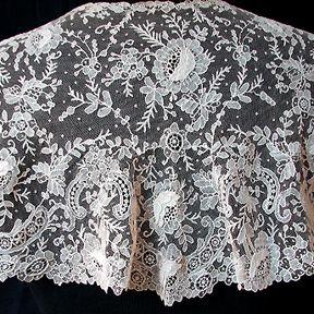 Handmade Brussels point de gaze shawl, ca. 1860