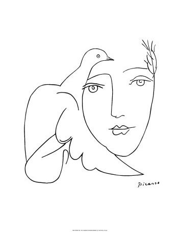 Pablo Picasso Face   Dove  Art Print