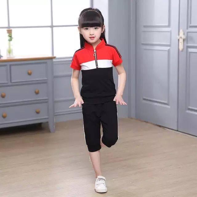 Ropa Para Niños 2019 Nuevo Traje De Algodón De Verano Para Niños Camiseta De Retazos De Manga Co Uniformes Deportivos Para Niños Ropa De Adidas Ropa Para Niñas