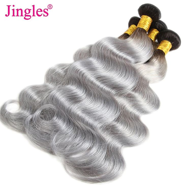 Brazilian Body Wave Human Hair Weave Bundles 1B Grey Ombre Color Body Wave Human Hair Extensions Peruvian Malaysian Indian Wholesale Wefts