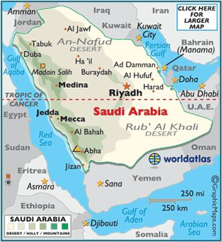 Mecca and Medina are important cities in Saudi Arabia, aside from their capital in Riyadh. The Islamic religion recognizes these places as significant places in the life and death of Mohammad, the prophet.