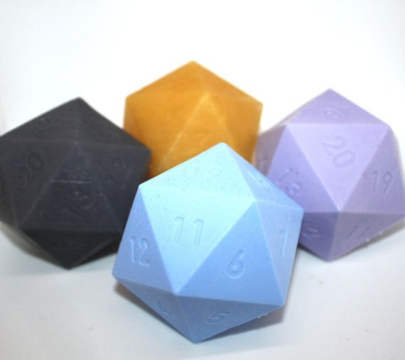 Set of 4 d20 dice soaps  dungeons and dragons role by WizardAtWork