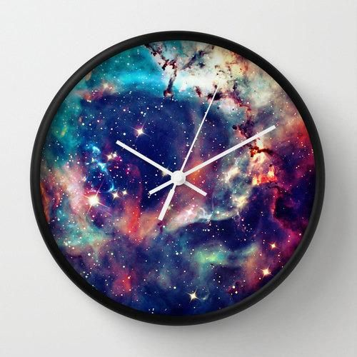 Add some depth to time with this galaxy wall clock.