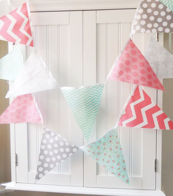 Shabby chic banner girl party bunting cotton fabric for Pink nursery fabric
