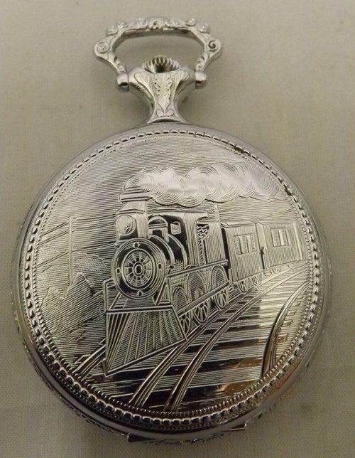 Vintage Silver Tone Timex Train Ornate Engraved Pocket