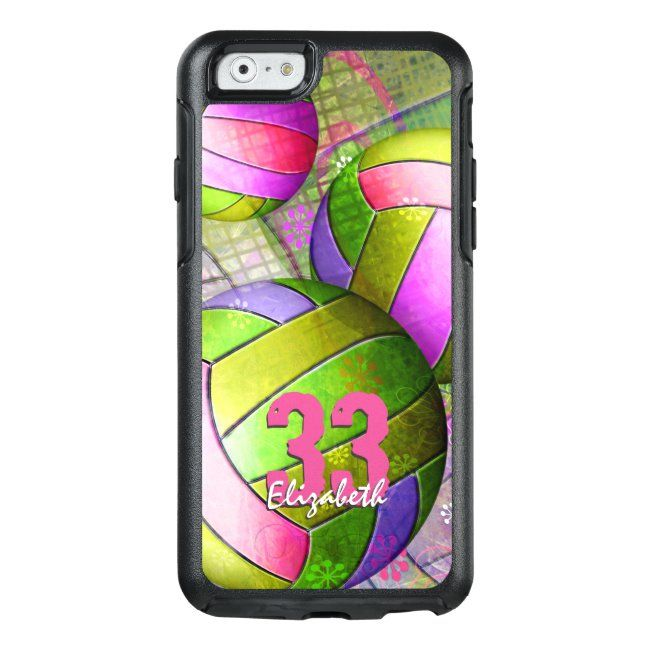Girls Volleyball Hot Pink Purple Yellow Lime Otterbox Iphone Case Zazzle Com In 2020 Yellow Lime